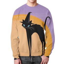 """Свитшот мужской с полной запечаткой """"мульт котик на фоне полной луны. """" - кошка, луна, мульт"""