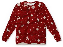 """Свитшот унисекс с полной запечаткой """"Новый Год"""" - звезды, рождество, нг, олени"""