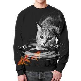 """Свитшот мужской с полной запечаткой """"Кот и Рыбки"""" - кот, коты, рыбы, золотые рыбки"""