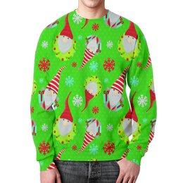 """Свитшот мужской с полной запечаткой """"Снежинки"""" - новый год, снежинки, дед мороз, санта, гном"""