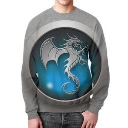 "Свитшот унисекс с полной запечаткой ""Дракон"" - дракон, голубой, логотип, мортал, комбат"