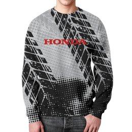 """Свитшот мужской с полной запечаткой """"Honda"""" - авто, автомобили, металл, honda, хонда"""