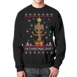 """Свитшот мужской с полной запечаткой """"Merry Christmas"""" - новый год, рождество, снежинки"""
