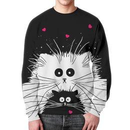 """Свитшот мужской с полной запечаткой """"Белый кот черная кошка"""" - любовь, сердечки, котики"""