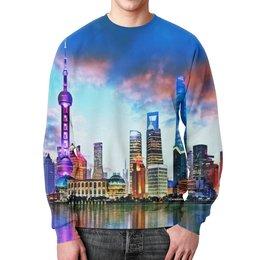 """Свитшот унисекс с полной запечаткой """"Город в красках"""" - город, вода, здания, огни, мегаполис"""