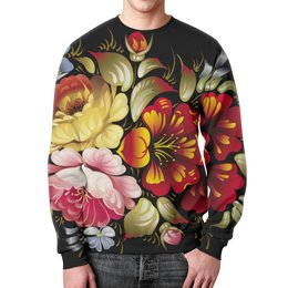 """Свитшот мужской с полной запечаткой """"Хохлома"""" - цветы, рисунок, творчество, хохлома, роспись"""