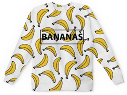 "Свитшот унисекс с полной запечаткой ""Bananas"" - bananas, фрукты, банан, бананы"