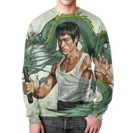 """Свитшот мужской с полной запечаткой """"Брюс Ли (Bruce Lee)"""" - дракон, bruce lee, брюс ли"""