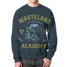 """Свитшот унисекс с полной запечаткой """"Fallout. Wasteland Academy"""" - игры, fallout, геймерские, wasteland academy, t-60"""
