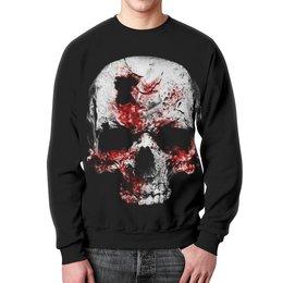 """Свитшот мужской с полной запечаткой """"Skull Art"""" - skull, череп, кровь, blood, ужасы"""
