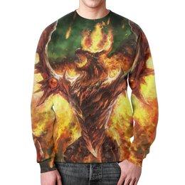 """Свитшот мужской с полной запечаткой """"огненный дракон"""" - арт, дракон, огонь, феникс"""