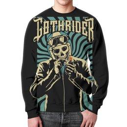 """Свитшот унисекс с полной запечаткой """"Gothrider"""" - череп, байкер, рокер, biker, gothrider"""