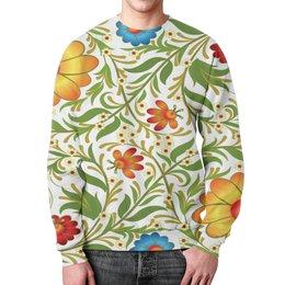 """Свитшот унисекс с полной запечаткой """"Цветочный узор"""" - цветы, узор, листья, хохлома, роспись"""