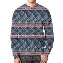 """Свитшот унисекс с полной запечаткой """"Свитер"""" - новый год, узор, снежинки, свитер"""