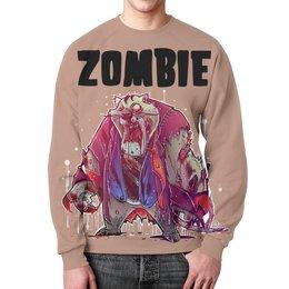 """Свитшот унисекс с полной запечаткой """"Zombie Cat"""" - кот, животные, zombie, зомби, cat"""