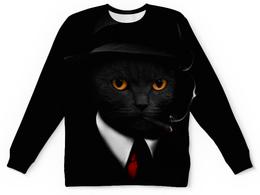 """Свитшот унисекс с полной запечаткой """"Агент Кот"""" - животные, коты, секретный агент"""