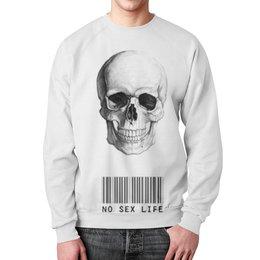 """Свитшот унисекс с полной запечаткой """"Череп"""" - skull, череп, код, минимализм, no sex life"""