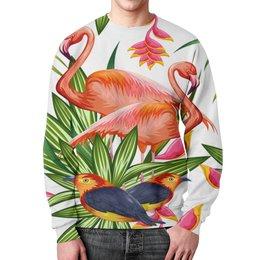 """Свитшот мужской с полной запечаткой """"Птицы и цветы"""" - лето, цветы, птицы, природа, фламинго"""