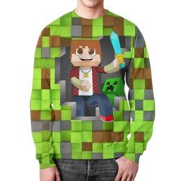 """Свитшот мужской с полной запечаткой """"Minecraft"""" - компьютерные игры, майнкрафт, приключение, игроманам, строителям"""