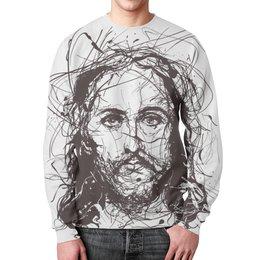 """Свитшот мужской с полной запечаткой """"Я верю в искусство"""" - арт, религия, христианство, jesus christ, иисус христос"""