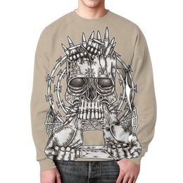 """Свитшот унисекс с полной запечаткой """"Skull Art"""" - skull, череп, ножи, колючая проволока, гранаты"""