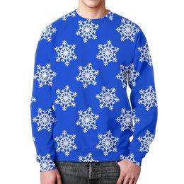 """Свитшот мужской с полной запечаткой """"Снежинки"""" - новый год, зима, снег, снежинки, праздники"""
