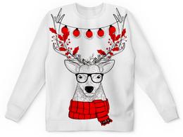 """Свитшот унисекс с полной запечаткой """"Новый Год"""" - рождество, олень, хипстер, гирлянда, в очках"""