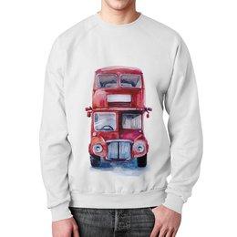 """Свитшот мужской с полной запечаткой """"London bus"""" - рисунок, детский, акварель, автобус, машинка"""