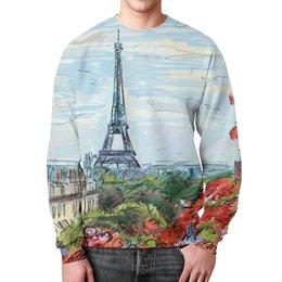 """Свитшот унисекс с полной запечаткой """"Эйфелева башня"""" - графика, париж, эйфелева башня, франция"""