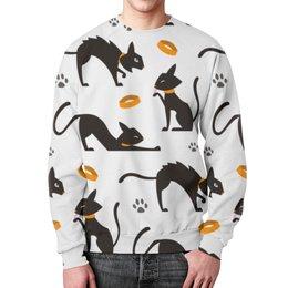 """Свитшот унисекс с полной запечаткой """"Чёрные кошки"""" - кот, кошка, животные, коты, котёнок"""