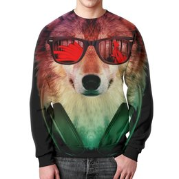 """Свитшот мужской с полной запечаткой """"Волк в очках"""" - арт, наушники, абстракция, волк, диджей"""