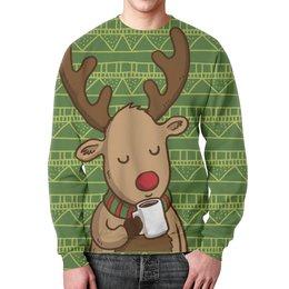 """Свитшот унисекс с полной запечаткой """"Олень с кофе"""" - подарок, олень, deer, merry christmas, новогодний подарок"""