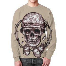 """Свитшот унисекс с полной запечаткой """"Skull Art"""" - skull, череп, grenade, граната, череп в каске"""