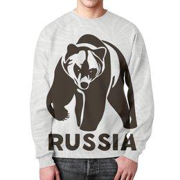 """Свитшот мужской с полной запечаткой """"Россия (Russia)"""" - bear, медведь"""