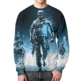 """Свитшот мужской с полной запечаткой """"Солдат (Battlefield)"""" - армия, солдат, battlefield, bf"""