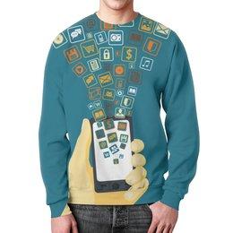 """Свитшот унисекс с полной запечаткой """"Phone"""" - арт, рисунок, дизайн, графика, иллюстрация"""