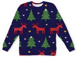 """Свитшот унисекс с полной запечаткой """"новогодние олени"""" - новый год, олень, нг, ёлки"""