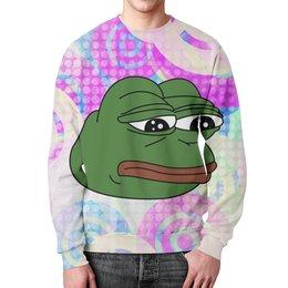 """Свитшот мужской с полной запечаткой """"Грустная лягушка"""" - мем, meme, грустная лягушка, sad frog, pepe frog"""