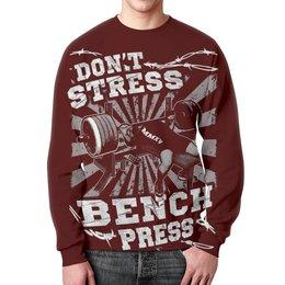 """Свитшот унисекс с полной запечаткой """"Bench Press"""" - спорт, бодибилдинг, культурист, арт дизайн, штанга"""
