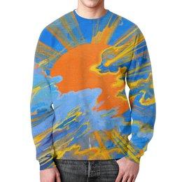 """Свитшот унисекс с полной запечаткой """"Солнце"""" - солнце, небо, облака, голубое, оранжевое"""
