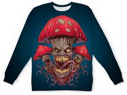 """Свитшот унисекс с полной запечаткой """"Зловещие мухоморы"""" - прикол, гриб, грибы, зло, мухомор"""