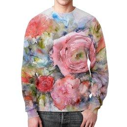 """Свитшот мужской с полной запечаткой """"Акварельный букет"""" - цветы, роза, розовый, нежный, картина акварелью"""