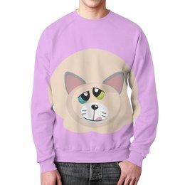 """Свитшот мужской с полной запечаткой """"Успешный Котик """" - котэ, котик, киска, wax, успешный котик"""