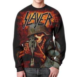 """Свитшот мужской с полной запечаткой """"Slayer Band"""" - рок музыка, рок группа, slayer, thrash metal, трэш метал"""