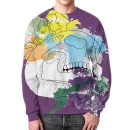 """Свитшот унисекс с полной запечаткой """"Череп Акварель"""" - череп, цветы, рисунок, кляксы, акварель"""