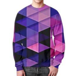 """Свитшот мужской с полной запечаткой """"цветпарад"""" - абстракция, цветные, геометрия, abstraction, треугольники"""