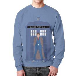 """Свитшот мужской с полной запечаткой """"Доктор Кто и ТАРДИС / Doctor Who & TARDIS"""" - doctor who, tardis, доктор кто, тардис, автоские свитшоты"""