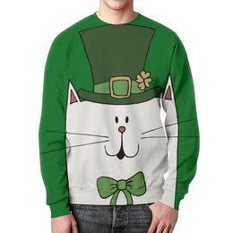 """Свитшот мужской с полной запечаткой """"Ирландский Кот"""" - кот, клевер, ирландия, день святого патрика"""
