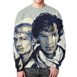 """Свитшот мужской с полной запечаткой """"Sherlock  """" - сериал, шерлок, детектив, бенедикт камбербэтч, доктор ватсон"""
