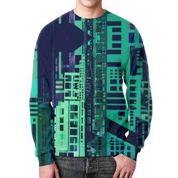 """Свитшот унисекс с полной запечаткой """"""""Город будущего"""" Киберпанк"""" - голубой, синий, киберпанк, небоскребы, мегаполис"""